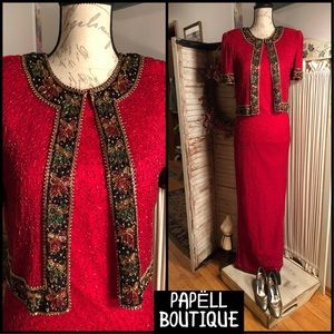 SZ 4-VINTAGE ERA PAPĒLL BOUTIQUE RED SILK DRESS
